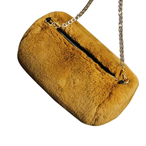 Fashion to Cute Chain Yellow Solid Bag Girls Women Shoulder Back Crossbody School Faux Fur Bag Rabbit for Backpack Messenger Johlycao Grab Color Backpack SAqfZW