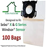 Casa Vacuums replacement bags used for Windsor Sensor - Versamatic Plus - 5300REP Upright Vacuum Paper Bags. Sebo X & G Series. Kenmore 12 & 15 upright series 100 pack