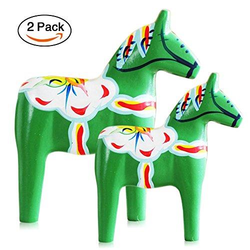 FishMM Set of 2 Europe's Swedish Wooden Dala Horse Figurine, Dalecarlian Horse Ornaments, Color Painting Classical (Sweden Dala Horse)