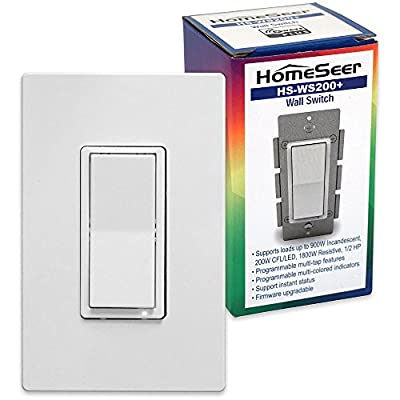 HomeSeer HS-WS200+ Z-Wave Plus Scene-Capable Smart Switch w/RGB LED indicator, Compatible with Alexa