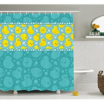 This item Rubber Duck Shower Curtain Set by Ambesonne  Cute Yellow Cartoon  Duckies Swimming in Water Pattern with Fun Bubbles Aqua Colors  Fabric  Bathroom  Amazon com  Rubber Duck Shower Curtain Set by Ambesonne  Cute  . Yellow And Teal Shower Curtain. Home Design Ideas