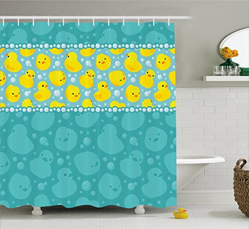 Ambesonne Rubber Duck Shower Curtain Set, Cute Yellow Cartoon Duckies Swimming in Water Pattern with Fun Bubbles Aqua Colors, Fabric Bathroom Decor with Hooks, 75 Inches Long, Teal Yellow