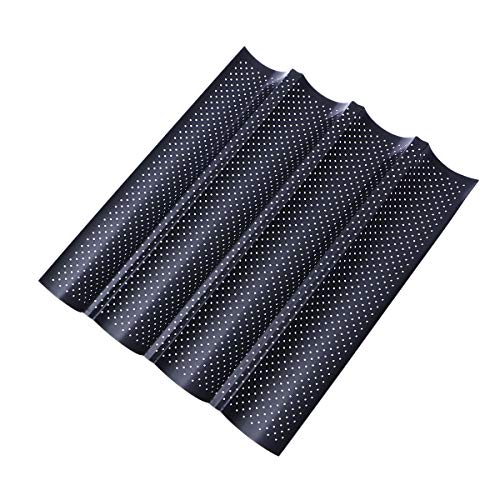 1 piece Non-Stick Perforated French Bread Pan Baguette Mold for Baking 4 Loaves Wave Baker (Black)