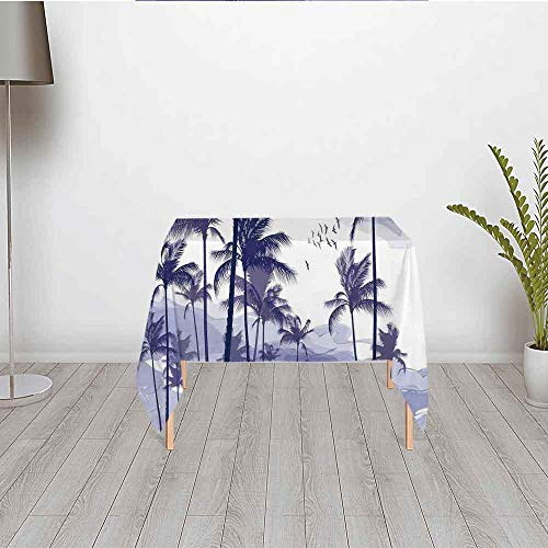 (Ocean Fashionable Satin Tablecloth,Exotic Tropical Tall Palm Trees at Beverly Hills Sunset on Windy Day Abstract Artsy Print Decorative for Buffet Table Parties Holiday Dinner Wedding & More,23.62''W)