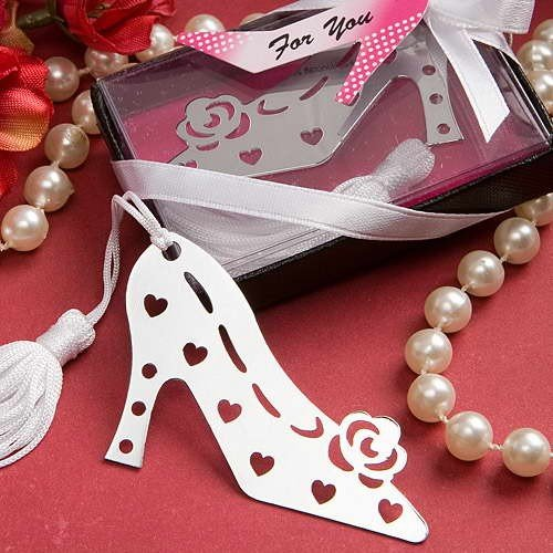 Disok–Elegante segnalibro a forma di scarpa col tacco, mod. Lovers, con astuccio, ideale come regalo di matrimonio, Comunione, Battesimo,