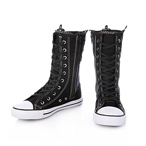 Sneakers for High High Flat Girls up Lace Women Boots Top Dolwins Canvas Black wtIxHpqta