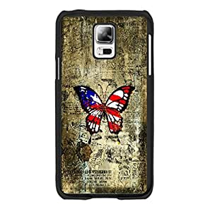 Customized Cute Butterfly Print Hard Plastic Shell Case for Cell Phone Samsung Galaxy S5 I9600 (retro blacks1162)