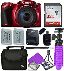 Canon PowerShot SX420 IS Wi-Fi Digital Camera (Red) with Sandisk 32 GB SD Memory Card + Extra Battery + Tripod + Case + Card Reader + Cleaning Kit