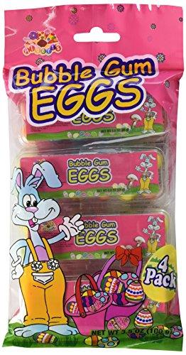 4 Pack of Bubble Gum Easter Eggs Basket Stuffers, 3.5 oz