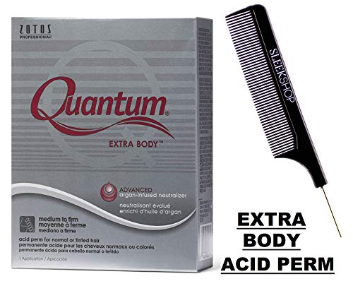 Zotos QUANTUM EXTRA BODY Classic Acid Perm, MEDIUM TO FIRM CURLS, for Normal or Tinted Hair (with Sleek Steel Pin Tail Comb) (EXTRA BODY, CLASSIC ACID) (Quantum Firm Perm)