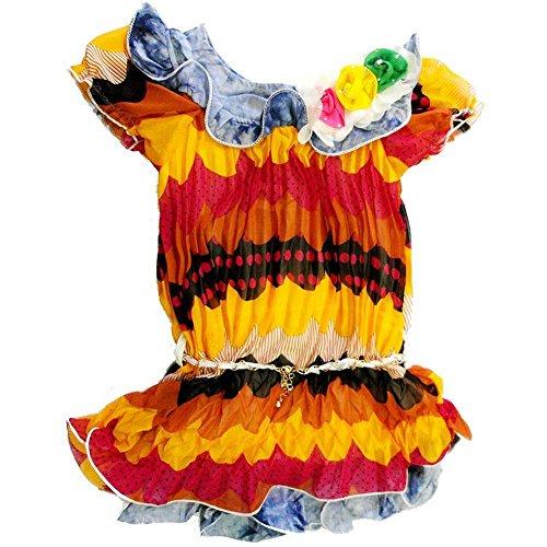 Wenchoice Baby Girls Yellow Denim Trim Crinkling Chiffon Dress 24M
