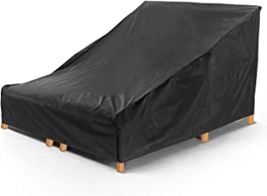 Weatherproof and Fade-Resistant Double Patio Chaise Lounge Cover, 2-Person Double Wide Chaise Lounge Protective Dust Cover