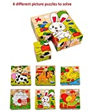 9 Piece Colorful Wooden Block Picture Puzzle for Toddlers and Small Children (Farm Theme)