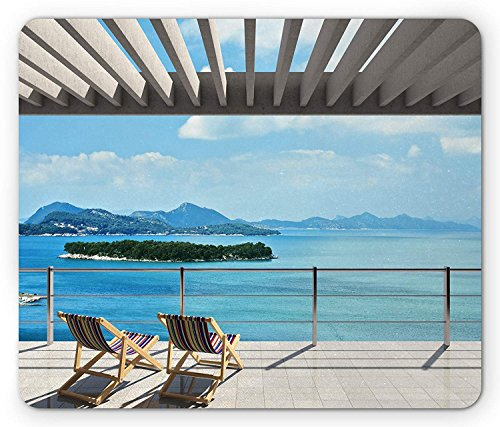 Beach Theme Mouse Pad, Modern Tile Roof Top House with Garden and Ocean View Image, Standard Size Rectangle Non-Slip Rubber Mousepad, Brown White Green and Blue ()
