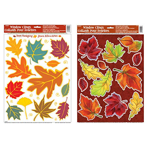 Unique Assorted Crisp and Falling Leaves Window Clings | 2-Pack Bundle | Autumn, Fall, Thanksgiving Wall and Floor Adhesive Decorations]()