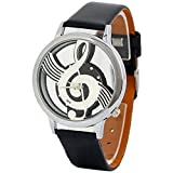 Polytree Unisex Musical Note Faux Leather Strap Hollow Quartz Wrist Watch