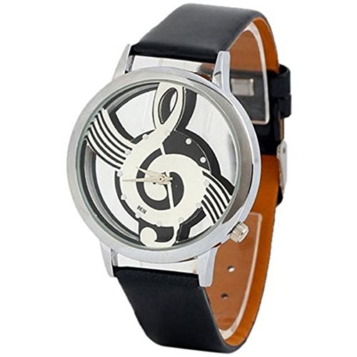 Polytree Unisex Musical Note Faux Leather Strap Hollow Quartz Wrist Watch