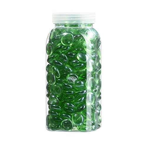 2.5 LB Light Green Mosaic Glass Pebbles for Vase Fillers Flat Bottom Round Top Glass Nugget 17mm to 19mm