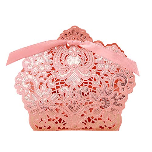 PONATIA 50 PCS Laser Cut with Ribbon Wedding Party Favor, Wedding Gift Bags Chocolate Candy and Gift Boxes (Pink)