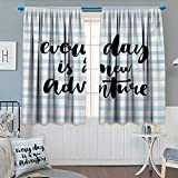 Chaneyhouse Inspirational Quotes Room Darkening Curtains Every Day is a New Adventure Calligraphy Text Watercolor Stripes Print Customized Curtains 55'' W x 45'' L Pale Blue