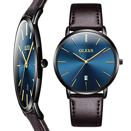 Ultra Thin Wrist Watch for Men,Mens Brown Leather Watch Blue Face,Casual Watches for Men,Luxury Simple Watch with Date,Waterproof Men Minimalist Quartz Watch,Battery Slim Watches for Men