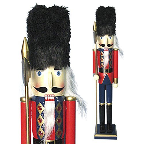 Traditional Wooden CHRISTMAS NUTCRACKER SOLDIER Decoration with HALBERD & BUSBY - RED, BLUE & GOLD - 30cm by Buzz