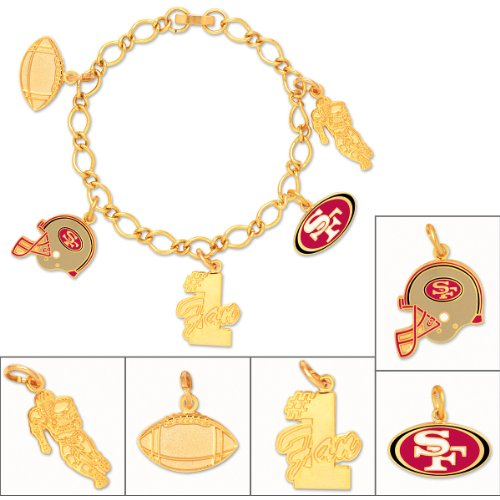 WinCraft NFL San Francisco 49ers 49703012 Bracelet with Charms Clamshell