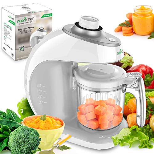 Digital Baby Food Maker Machine - 2-in-1 Steamer Cooker and Puree Blender Food Processor with Steam Timer - Steam Blend Organic Homemade Food for Newborn Babies, Infants, Toddlers - NutriChef PKBFB18 - Etc Digital Food Steamer