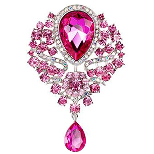 Style Flower Drop Brooch Pin Rhinestone Crystal Pendant Wedding Decorate Gift ()