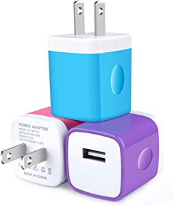 Charging Block Plug, CableLovers 1A/5V 3-Pack USB Wall Charger Power Adapter Cube Brick Head Box Compatible with iPhone 11 Pro/11/Xs/XR/X/8/7/6/Plus, Samsung Galaxy Note8/S8/S8+/S9/S9+/S10, Moto, LG