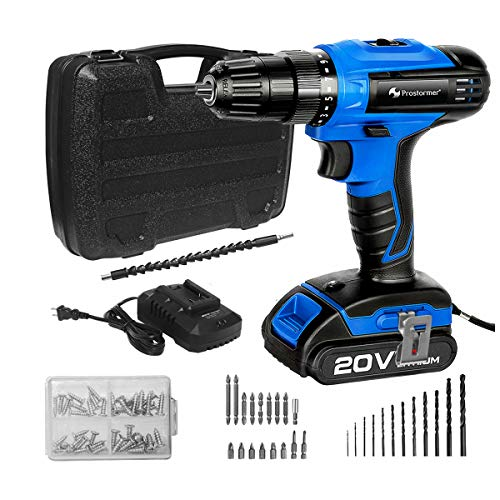 20V Cordless Drill Driver, 2-Speed,15 Variable Torque Settings, LED Worklight, Tool Box, Drill/Driver Bits set, 2000mAh Lithium Battery by PROSTORMER