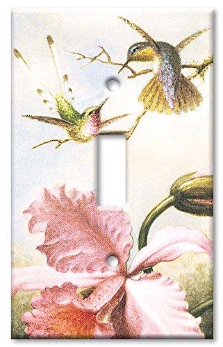 - Single Gang Toggle Wall Plate - Heade: Orchids & Hummingbirds