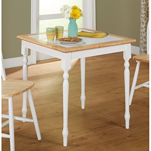 Beautiful and Sturdy Dining Table, Solid Wood Construction, Casual Style, Tile Top, Wood Frame With Tile Table Top, White/Natural Finish