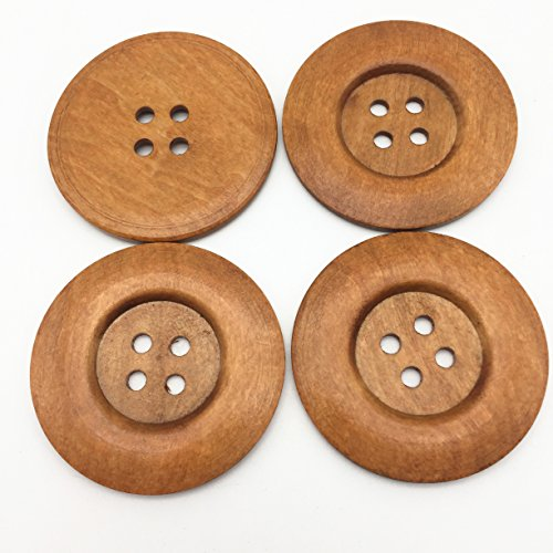 60mm 6CM Extra Large Wood Buttons Light Brown 4 Holes Round Sewing Button Embellishments Crafts Scrapbooking Pack of 20 (Large Light Hole)