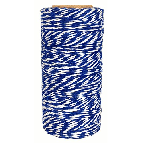 Just Artifacts ECO Bakers Twine 240yd 4Ply Striped Royal blue - Decorative Bakers Twine for DIY Crafts and Gift Wrapping]()