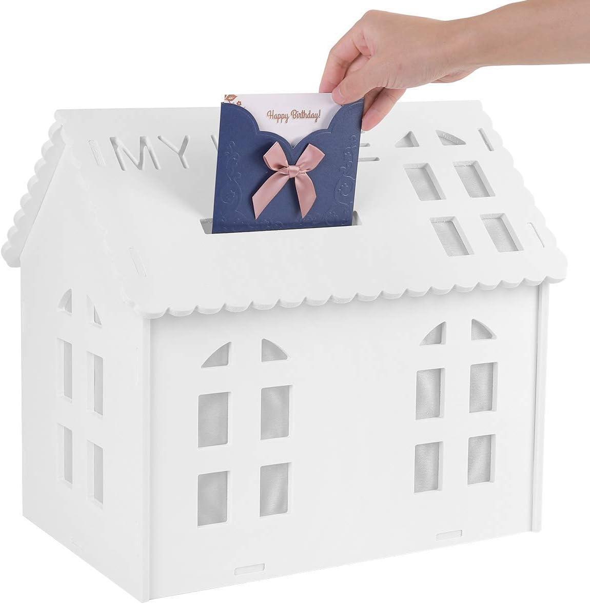 UNHO Caja para Tarjetas de Felicitación Caja de Dinero de Boda Caja Blanca de Ducha Nupcial con Ranura Organizador de Regalos para Boda Recepción Baby Shower Aniversario: Amazon.es: Hogar