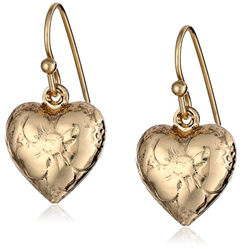 - 1928 Jewelry Brass Heart Charm Earrings