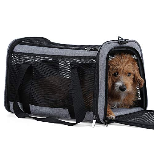 Petsfit Foldable Travel Dog Carrier, Soft-Sided Pet Travel Carrier Grey 18 x 11 x 11 Inch