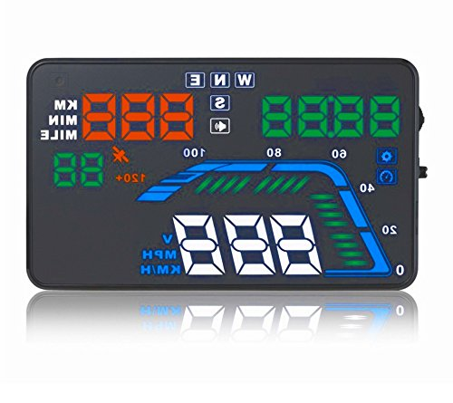 NikoMaku Car Hud GPS Q7 5.5 Inch Head Up Display with OBD2/EOBD Interface Speedometer Overspeed Alarm Windshield Project Kmh/ MPH Fuel Consumption Multicoloured