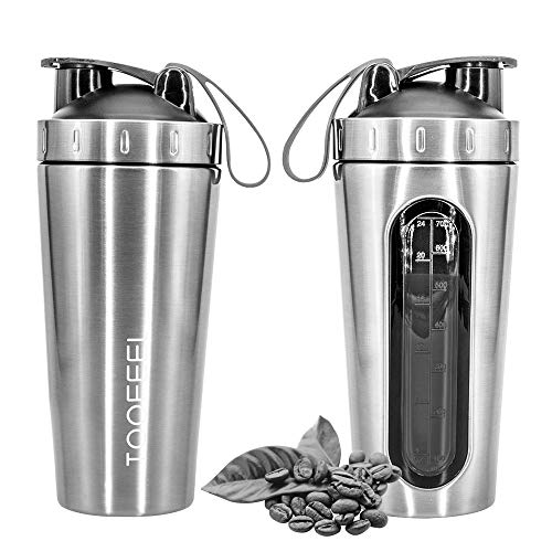 TOOFEEL 28oz 800ml Stainless Steel Protein Shaker Bottle Dishwasher Safe Sports Mixer Water Bottle Shaker Cup with Visible Window Leak Proof BPA Free