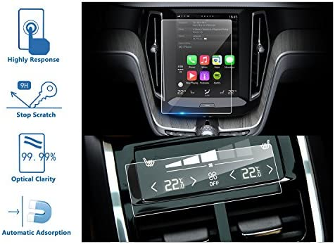 LFOTPP Volvo XC60 2018 2PCS Car Navigation and Air Conditioning Display  Screen Protector, Clear Tempered Glass Center Touch Screen Protector  Against