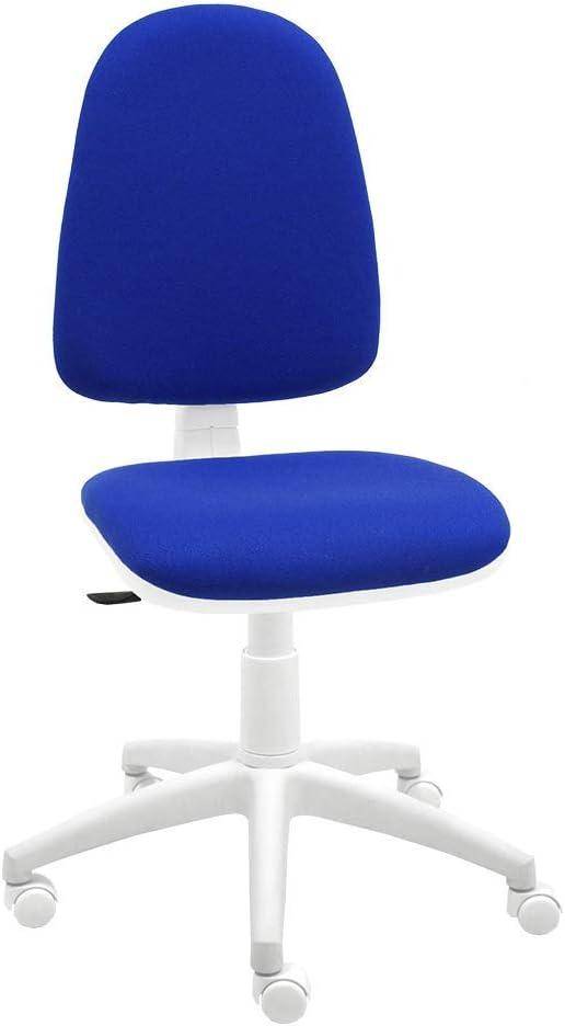 Silla giratoria Blanca de Oficina y Escritorio, Modelo Torino, diseño 100% Blanco ergonómico con Contacto Permanente (Azul)