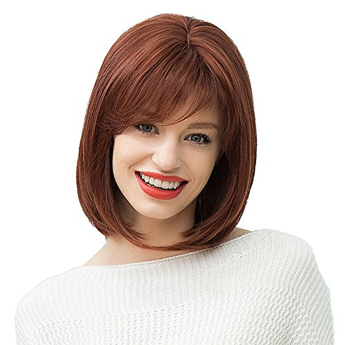 Please Costume Adopt Me (Mufly Bob Style Human Hair Medium Length Natural Straight Mixed Wigs Heat Resistant for Lady Women Wedding& Daily Wear 12)