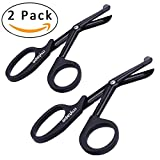 Fluoride Coated 7½'' EMT Trauma Shears, Stainless Steel Medical Scissors, Sharp Black Scissor For EMS, Doctors, Nurses, Cutting Bandages, Mytape, 2 Pack.