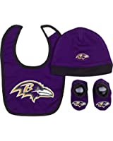 Gerber Baby Boys Baltimore Ravens Hat/cap,bootie and Bib Set