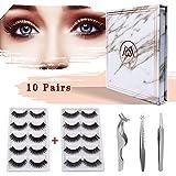 MAGEFY 10 Pairs 2 Styles Fake Eyelashes Reusable 3D Handmade False Eyelashes Set