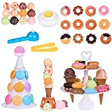 kids ice cream game - Dessert Party Toys Balance Game and Ice Cream Tower Stacking Blocks Toddler Building Blocks, Food Pretend Play for Christmas 54 PCs