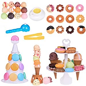 Dessert Party Toys Balance Game and Ice Cream Tower Stacking Blocks Toddler Building Blocks, Food Pretend Play for Christmas 54 PCs