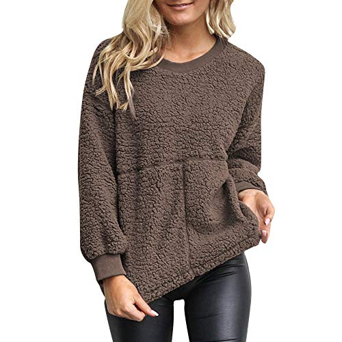 NRUTUP Women Shirts Casual Solid Patchwork O-Collar Full Sleeve Jumper Outwears Top Blouse(XL,Coffee)
