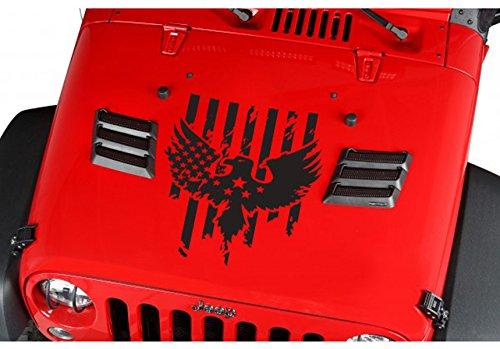 (USA Flag Eagle Wings Stars Stripes Hood Jeep Car Truck Suv Vinyl Sticker Decal)